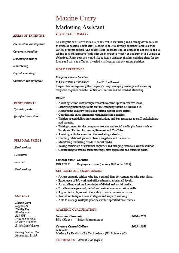 Marketing assistant resume, job description, template, example ...
