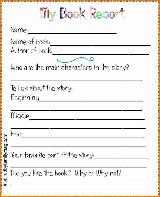 4+ Book Report Template 2nd Grade | Expense Report
