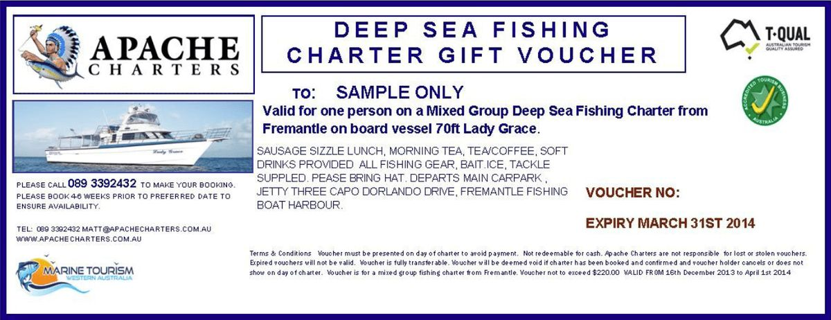 Fremantle Fishing Gift Vouchers Perth, Fremantle - Apache Charters ...