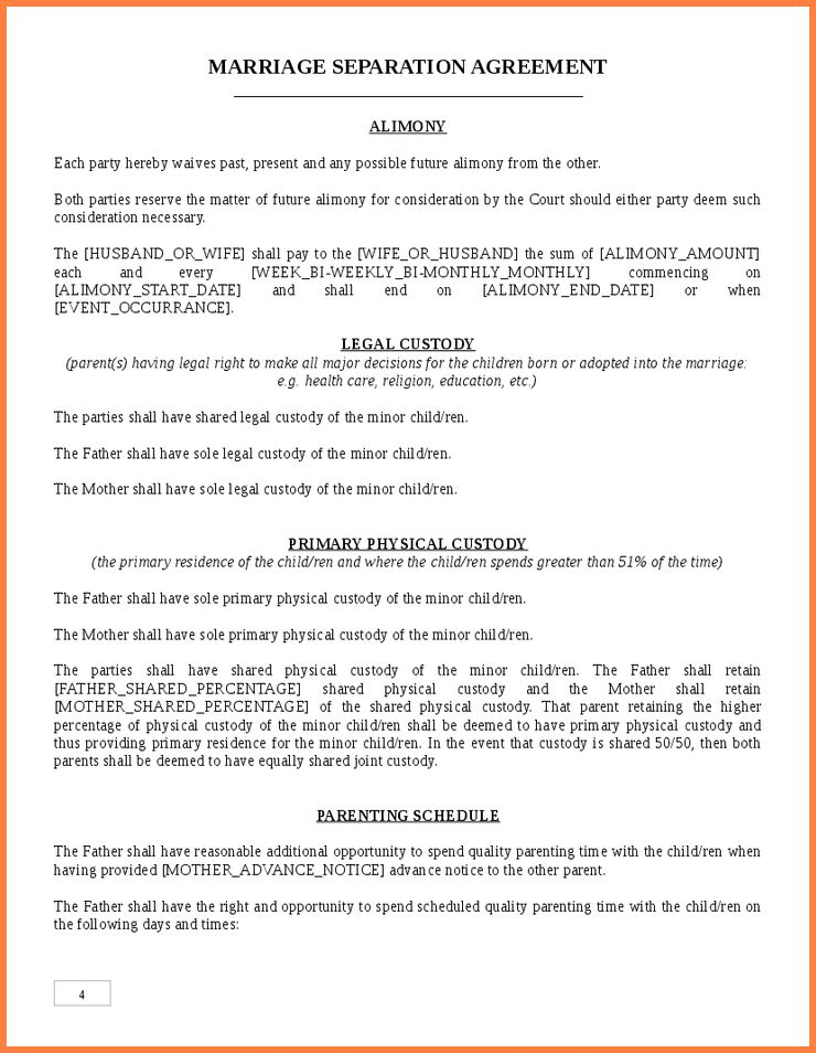 Marriage Separation Agreements.Seperation Agreement Template.jpg ...