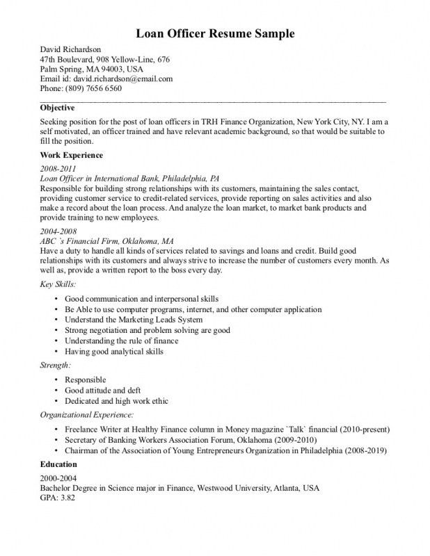 loan officer resume sample officer resume example loan officer