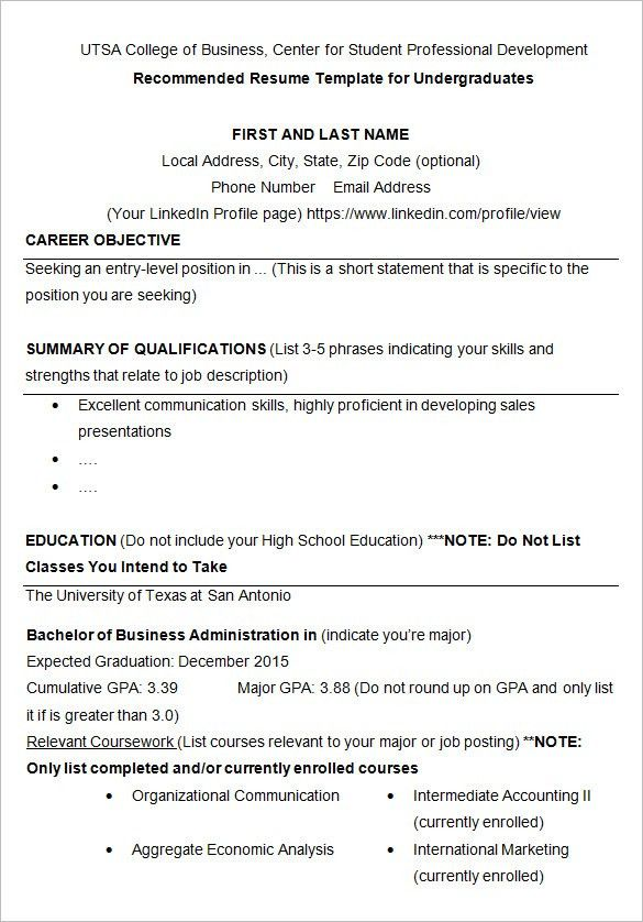 Download Sample Resume For College Student | haadyaooverbayresort.com