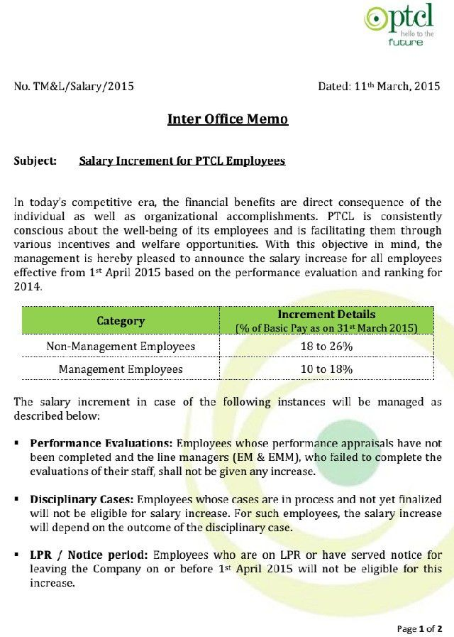 PTCL Employees Salary Increase Notification 2015 (Page 1)