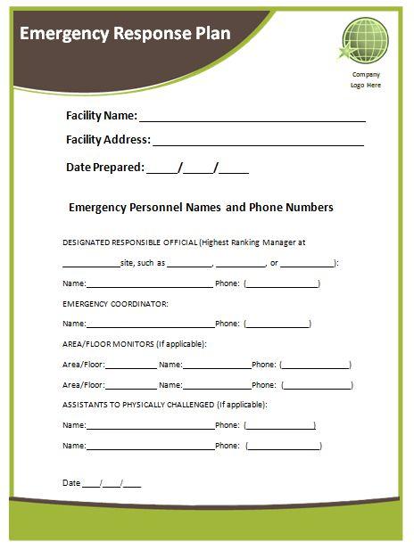 Emergency Response Plan Template | Microsoft Word Templates