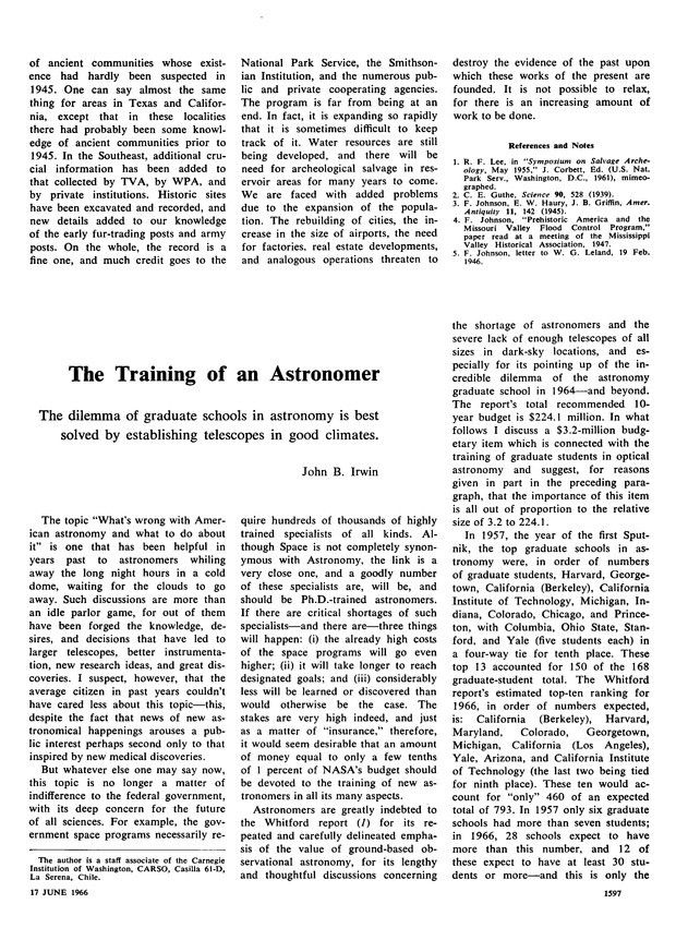 The Training of an Astronomer | Science