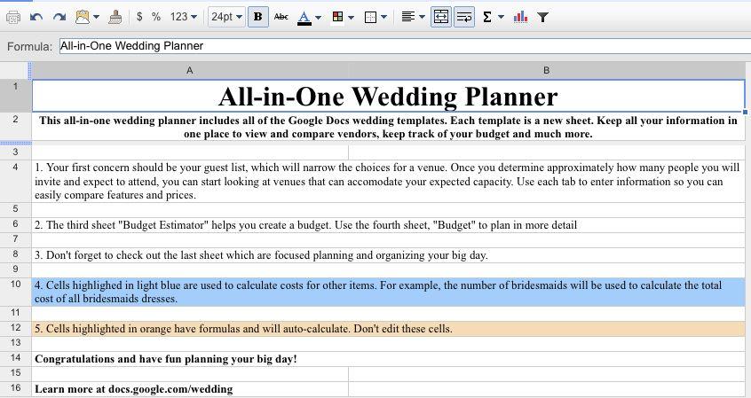 Free Wedding Organization Tool From Google Docs | Simply Beginning