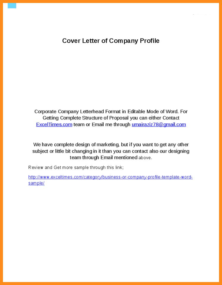 Sample Company Profile Cover Letter - Shishita-world.com