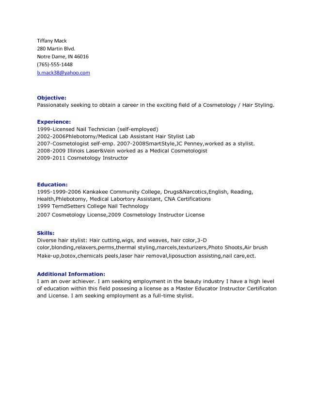 cosmetology resume objectives cosmetologist resume barbering make