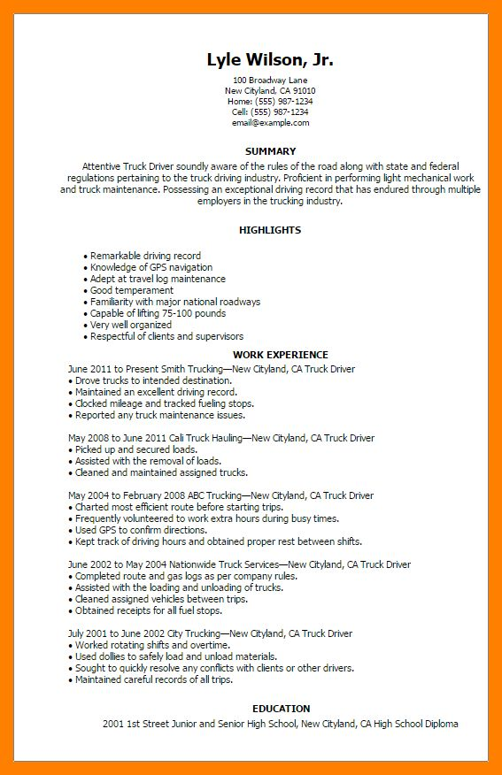 4+ truck driver resume sample | authorize letter