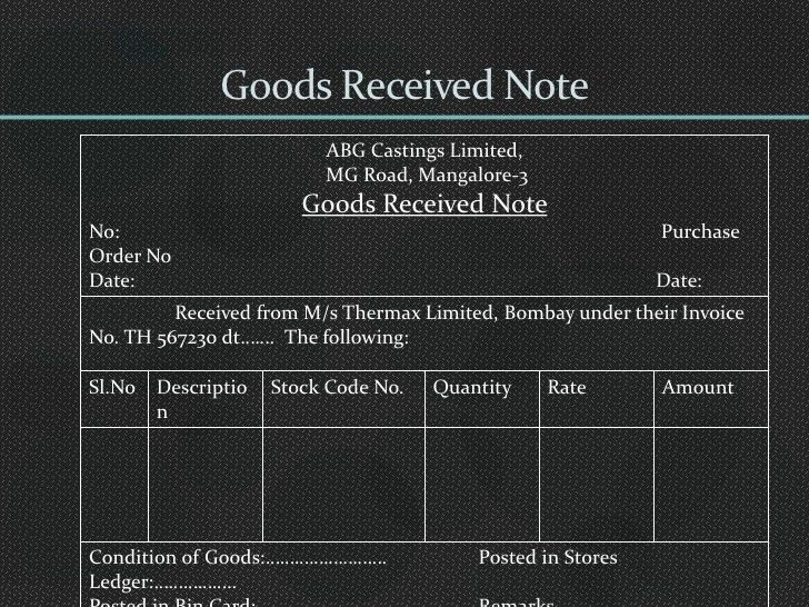 Goods Received Note Template Excel - Project management Excel Template