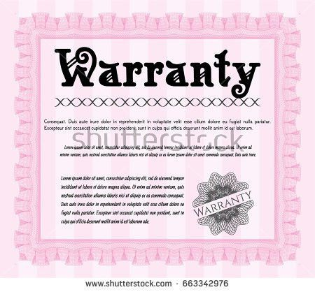 Pink Retro Warranty Certificate Template Detailed Stock Vector ...