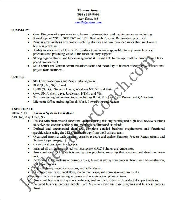 Business Analyst Resume Template – 15+ Free Samples, Examples ...