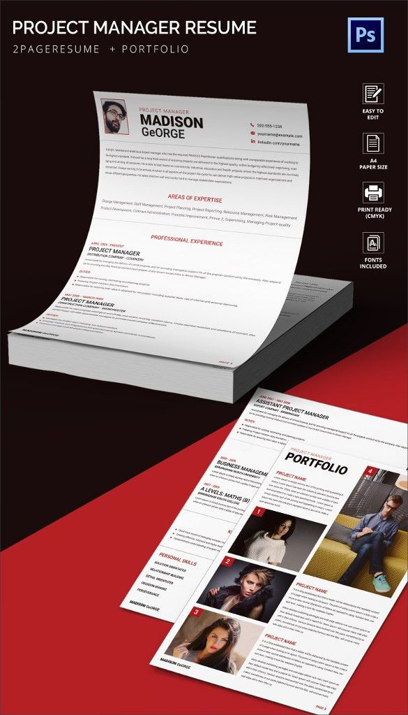 Attractive Project Manager Resume + Portfolio Template | Free ...