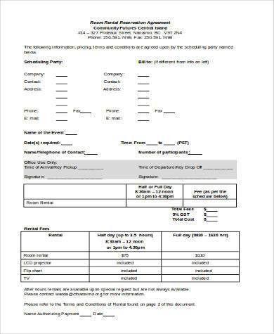 Sample Room Rental Agreements. Room Rental Reservation Agreement ...