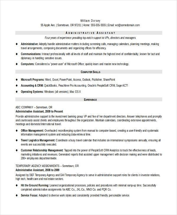Senior Administrative Assistant Resume – 10+ Free Word, PDF ...
