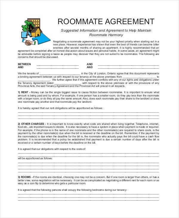 Roommate Rental Agreement. How To Write A Roommate Agreement? Best ...
