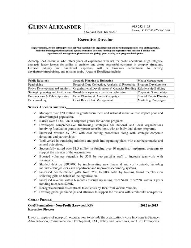 Executive Director Resume Non Profit | Samples Of Resumes
