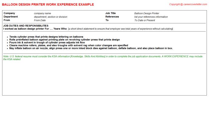 Balloon Design Printer CV Work Experience
