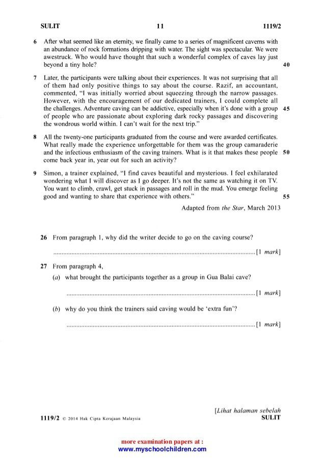 Bahasa Inggeris Past Year Question(2014)