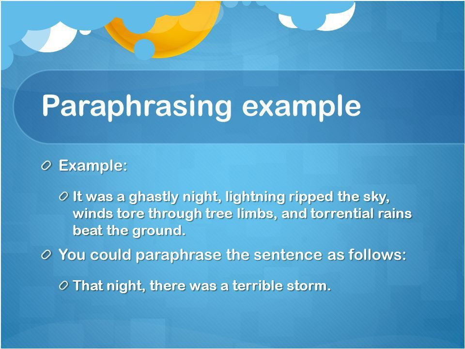 Synthesize and Paraphrase - ppt download