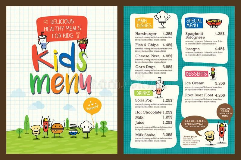 Cute Colorful Kids Meal Menu Template Stock Vector - Image: 62122236