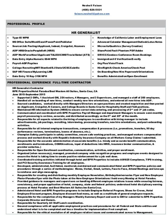 hr generalist sample resumes