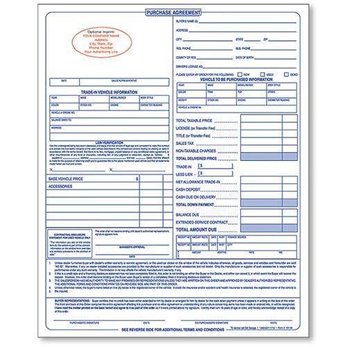 Personalized Dealer Forms, Car Sale Agreement, Custom Dealership ...