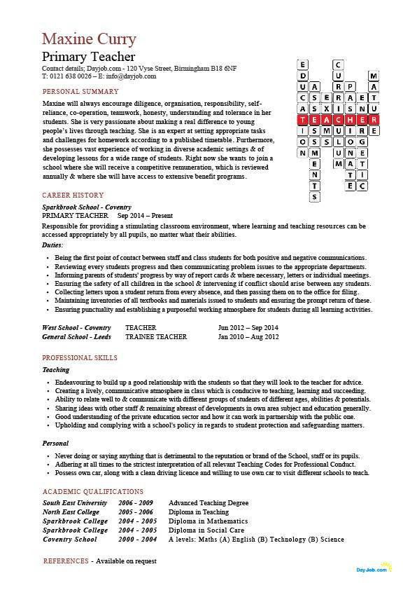 Primary teacher CV sample, school, teaching, classroom, children ...