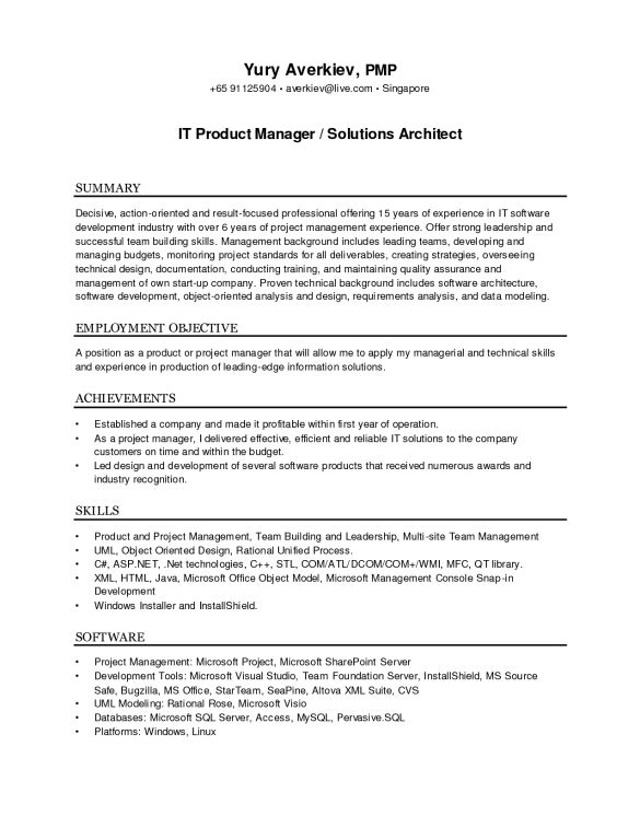 Best IT Product Manger Solutions Architect Resume Template and ...