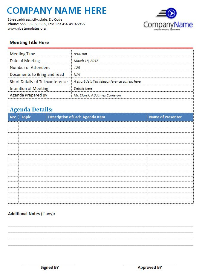 MS Word Sample Meeting Agenda Template | Office Templates Online
