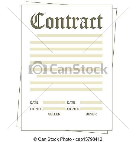 Vector Clip Art of Contract - Illustration of the paper blank ...