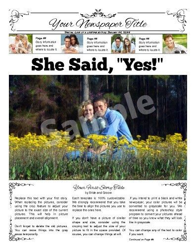 """Front page wedding announcement. Try this 11""""x14"""" newspaper ..."""