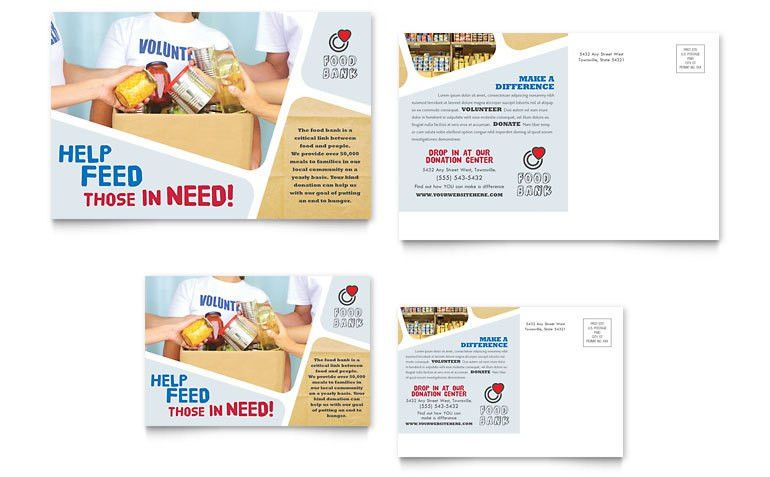 Food Bank Volunteer Postcard Template - Word & Publisher