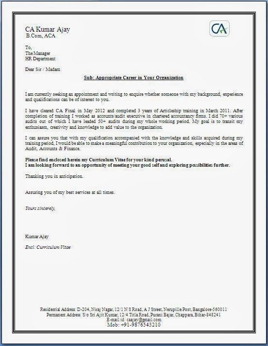 Cover Letter With CV | Experience Resumes