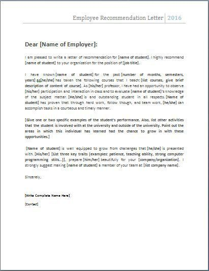 Employee Referral Letter Sample Recommendation Letters For