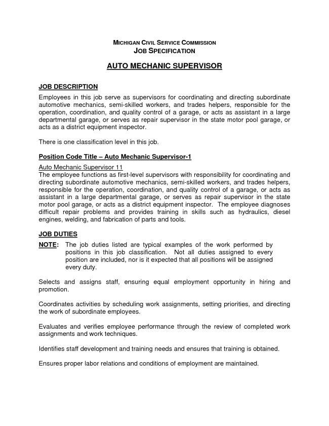 Entry Level Auto Mechanic Supervisor Resume Template : Vinodomia