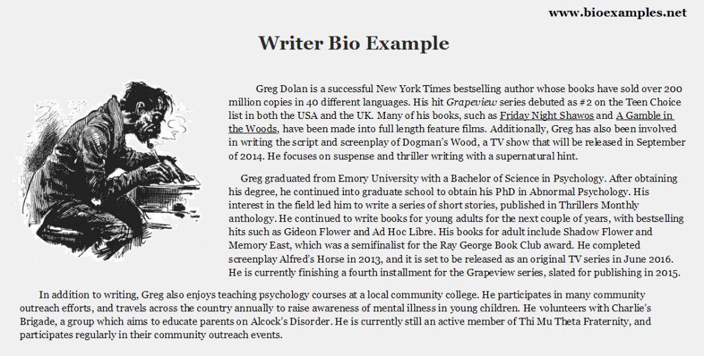 Writer Bio Example | Bio Examples | Pinterest