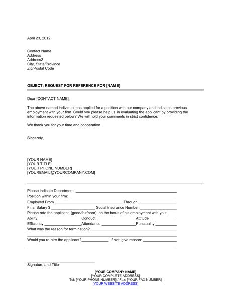 Request for Reference - Template & Sample Form | Biztree.com