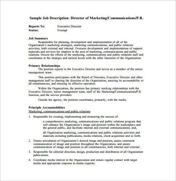 Marketing Director Job Description Template – 7+ Free Word, PDF ...