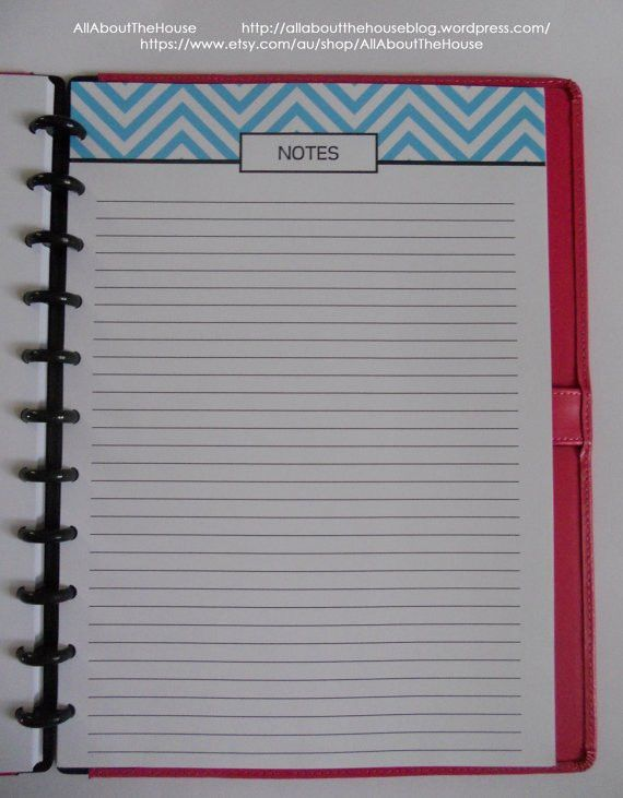 Note paper lined Undated Perpetual printable chevron blue PDF