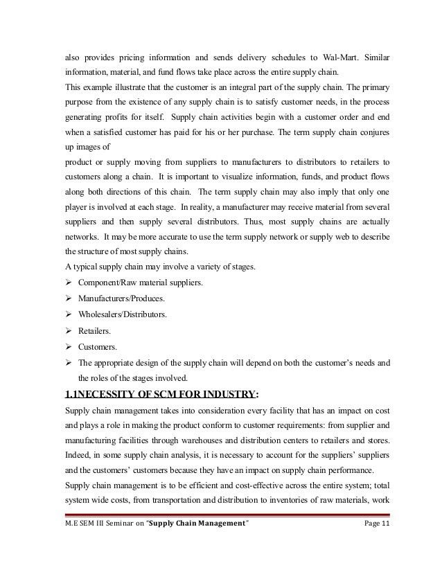 Seminar Report on Supply Chain Management