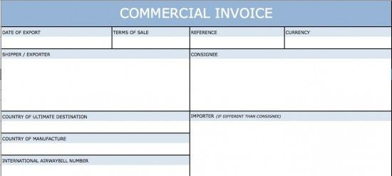 Download Blank International Commercial Invoice Templates | Excel ...