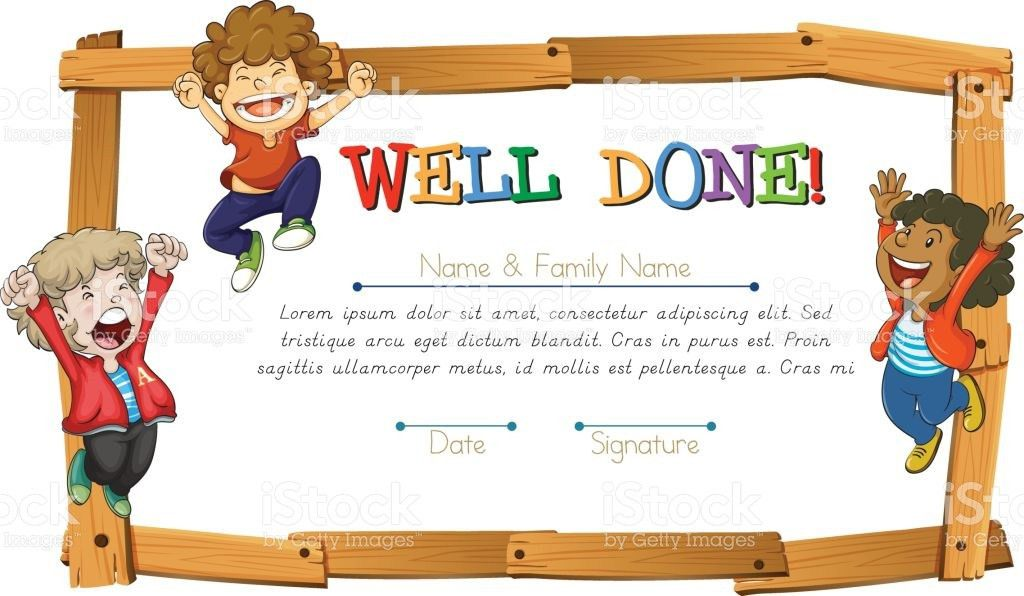 Certificate Template With Kids And Wooden Frame stock vector art ...
