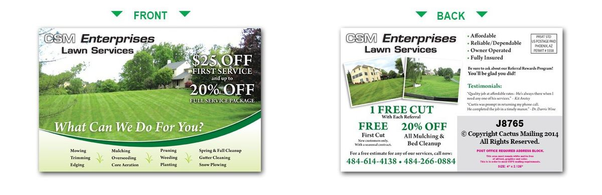 Lawn Care Postcards   Landscaping Marketing with Direct Mail