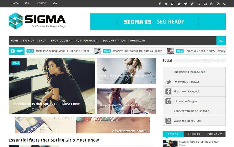 Responsive Free Blogger Templates (Magazine) - Kickstory