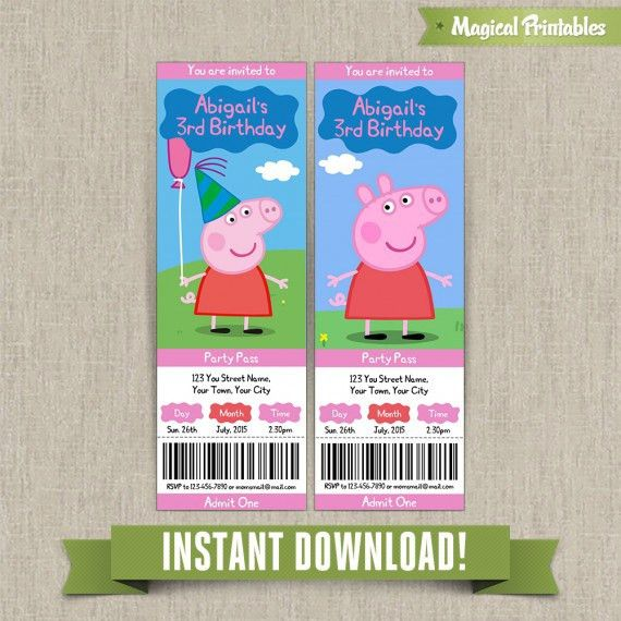 Pig Birthday Ticket Invitations - Instant Download! Edit and print ...