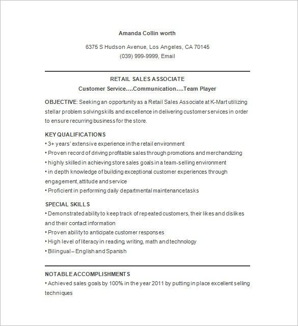 Retail Resume Template – 10+ Free Samples, Examples, Format ...