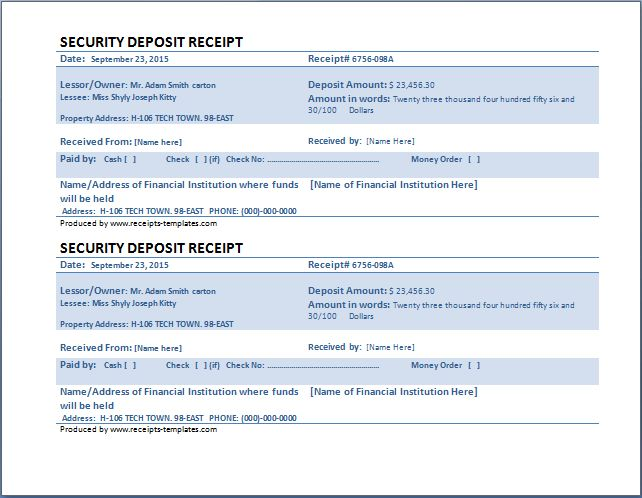 MS Word Security Deposit Receipt Template | Receipt Templates