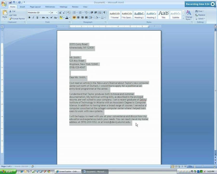 Microsoft Word 2007 Letter Format - Compudocs.us