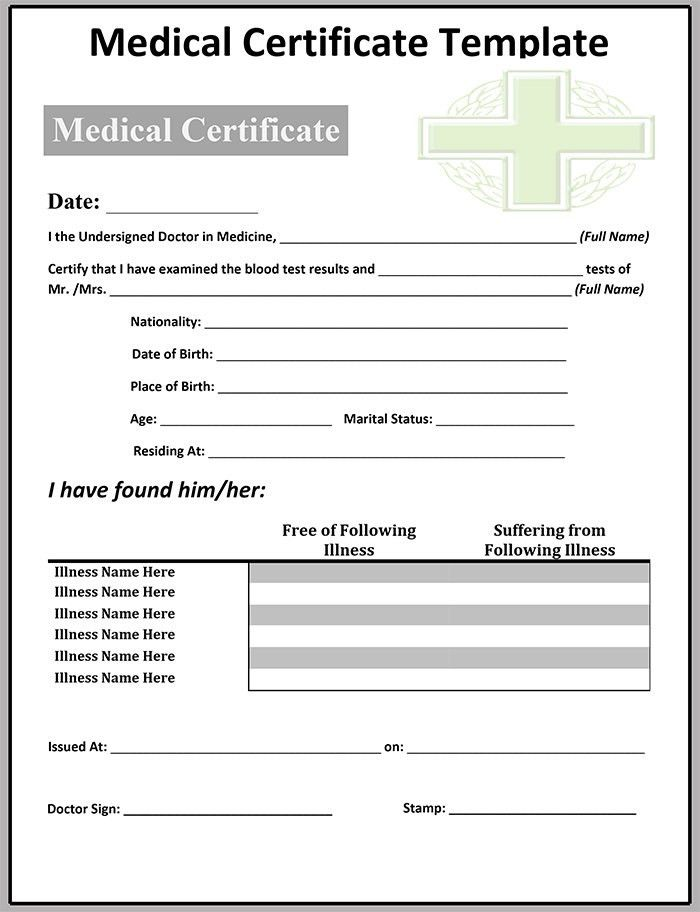 medical certificate template free word pdf documents download for ...